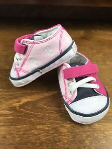 874b2a6f26 Cute Baby Girl Polo Ralph Lauren Designer Pink Pram Pumps Crib Shoes ...