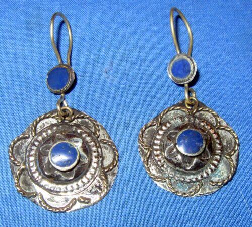 "Earrings Circle Gemstone Afghan Kuchi Tribal Alpaca Silver 1 1//4/"""