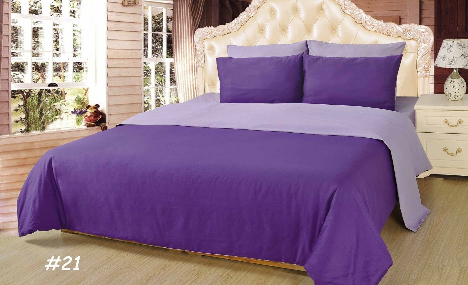 4 to 6 PC Cotton Solid Reversible lila Comforter Set King Twin With Bed Sheet