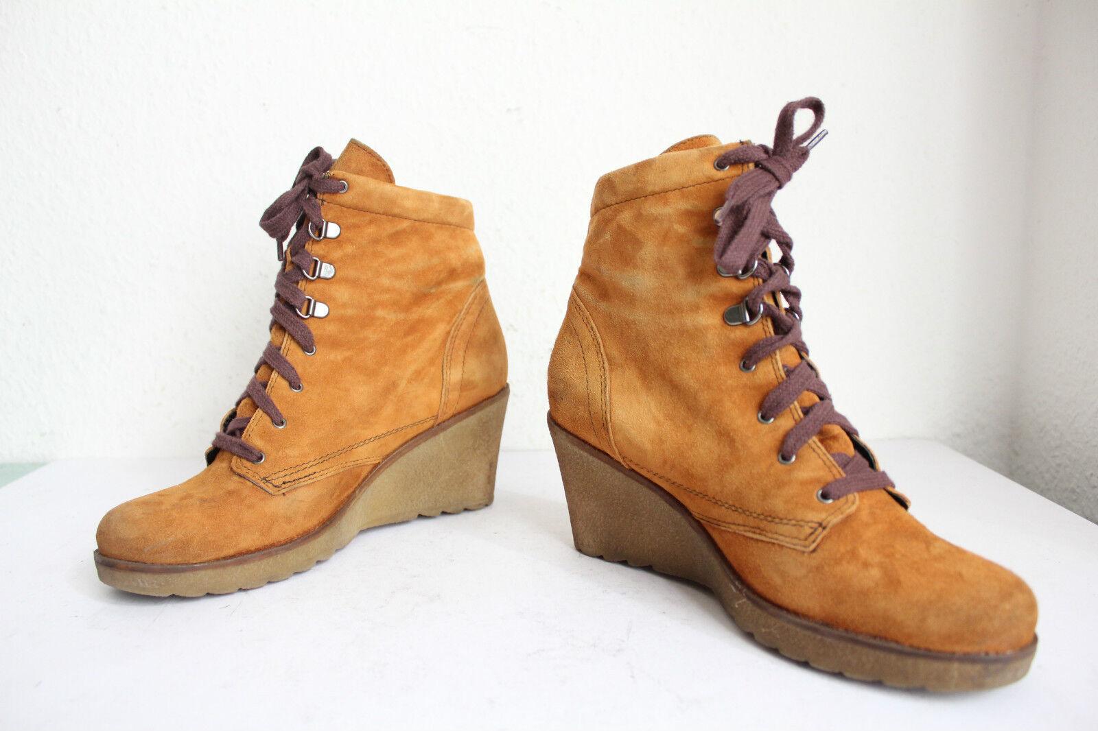 Mark Adam tacón de cuña botas schnürbotasetten nubukleder marrón tonos eu 39 --- 39,5
