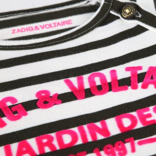 ZADIG /& VOLTAIRE Kids Streifen Kleid khaki Mini Me mit  Logo pink  8-16 Jahre