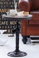 Industrial Side Table Reclaimed Wood Metal Rustic Vintage Style Round End Coffee