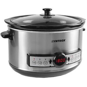 syntrox-GERMANY-Digital-Olla-de-Coccion-Lenta-4-5-litros-con-temporizador