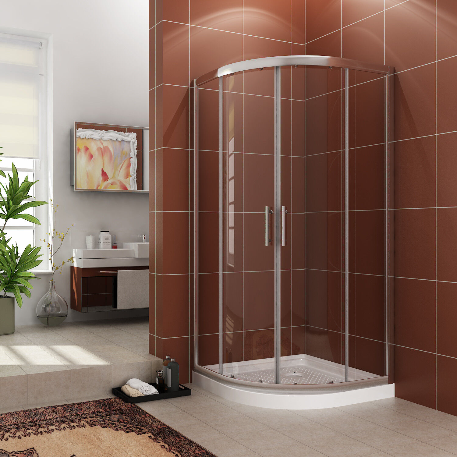 SUNNY SHOWER Neo-Round Corner framed Sliding Shower Door 36 7/10 ...