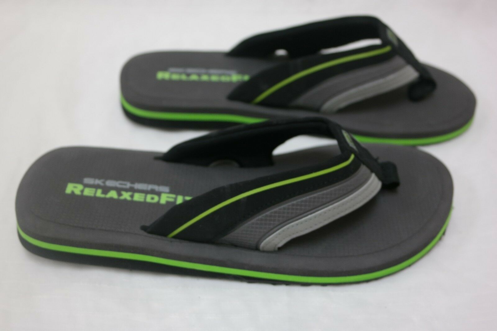 New!! Mens SKECHERS Relaxed Fit Unify Flip Flops 51310 Blk/ Charcoal/ Lime  E36 best-selling model of the brand