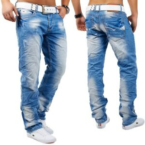 Hommes-Jeans-Destroyed-Destroyed-rides-Relax-Fit-Ripped-Angelo