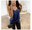 thumbnail 9 - Womens-V-neck-Sequin-Vest-Tank-Summer-Fashion-Blouse-Beach-Camisole-Shirts-Tops