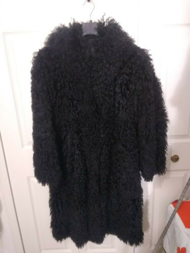 Black Full-Length Mongolian Curly Lamb Fur Coat