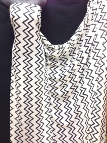 Black Chiffon Fabric wedding light Designer Multicolour Zig Zag Print Ivory