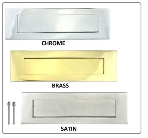 LETTER PLATE BOX Door Letterbox Wood Doors Sprung Flap Chrome Brass Nickl 10 x 3