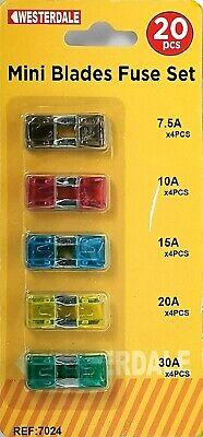 20 x Blade Fuses 5A 10A 15A 20A 25A 30A Car Auto Van 12v 24v Fuse Set ATC