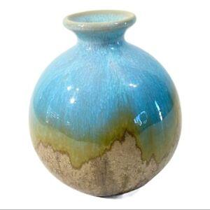 "Mid 20th Century Handmade Pottery Vase Drip Glaze Aqua Baby Blue Brown Small 5"""