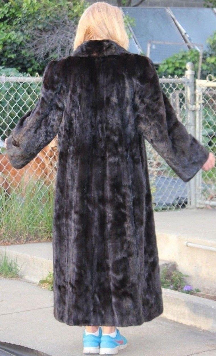 Elegant, rich dark brown full length mink coat- beautiful F Canadian pelts, M-L
