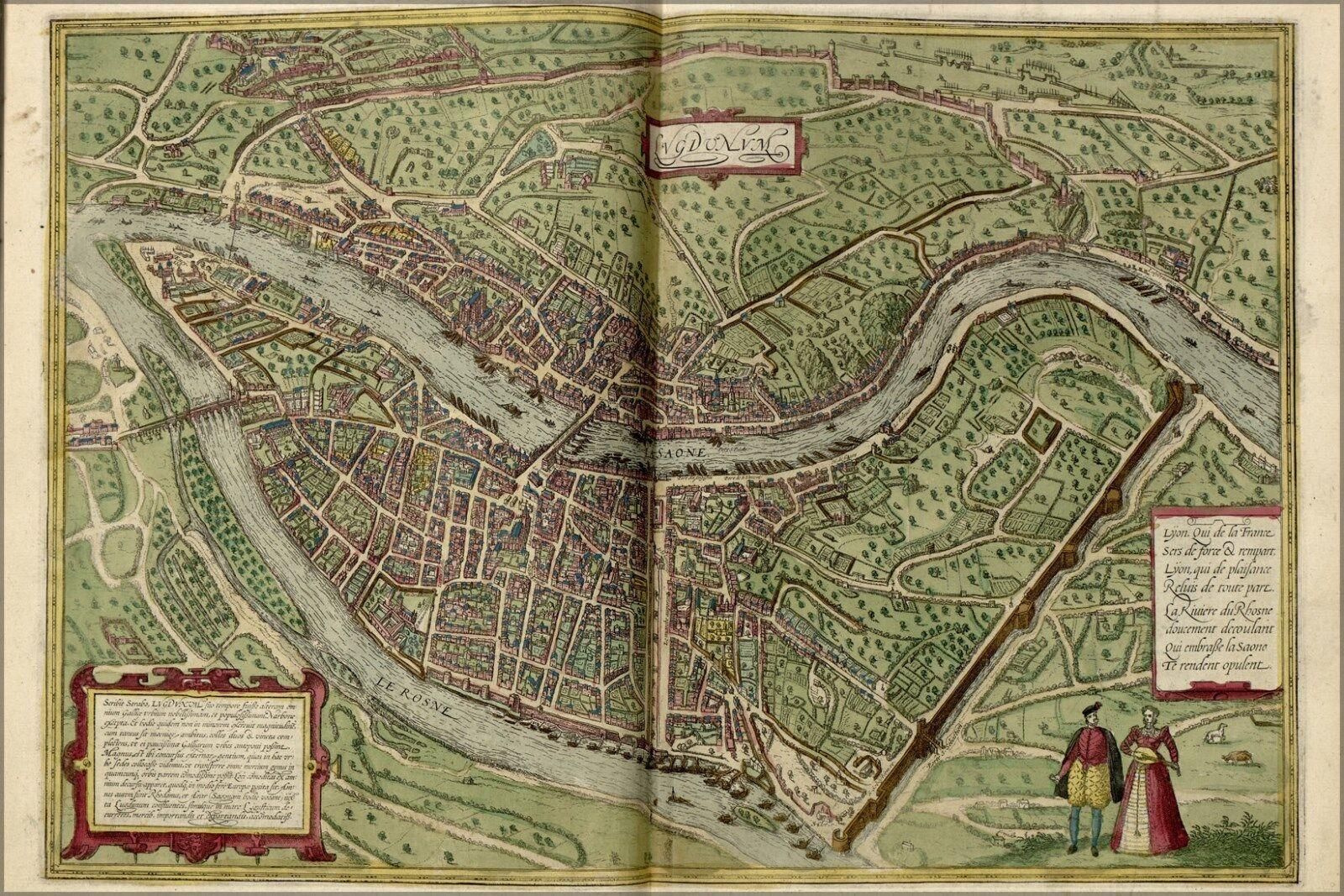 Poster, Many Größes; Map Of Lyon France 1612