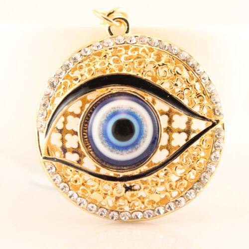 Evil Eye Fashion Keychain Rhinestone Crystal Charm Blue Round Eyes Gift 01290