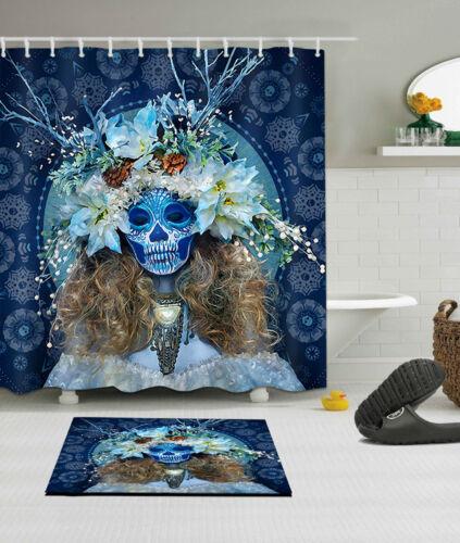"Ghost Mask Bride Waterproof Bathroom Home Decor Shower Curtain /&Mat /&Hook 60//72/"""