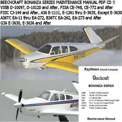 Beechcraft Bonanza V35B F33A F33C A36 TC B36TC G36 Maintenance Manual CD EBay