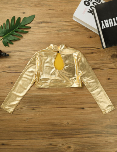 Kids Girls Glossy Metallic Dancing Tops Stage Performance Crop Top Gym Costumes