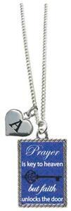 Custom-Prayer-is-Key-to-Heaven-but-Faith-Unlocks-the-Door-Necklace-Add-Initial