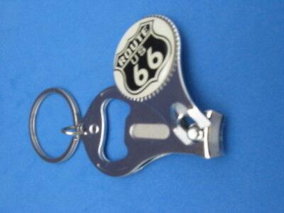 ROUTE 66 KEY RING NAIL CLIPPER BOTTLE OPENER WHITE SHIELD #111