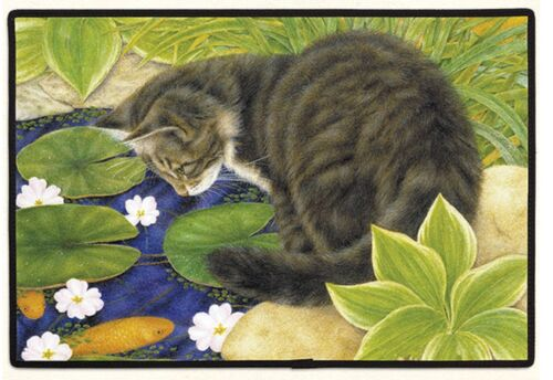 DOORMAT--18 X 27--CAT on POND non-skid rubber backed,
