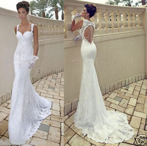Image Is Loading Y Mermaid Lace Backless Wedding Dress Bridal Gown