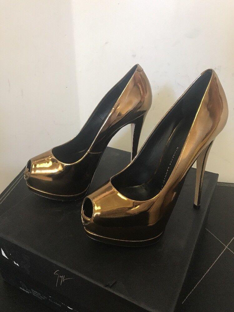 New Giuseppe Sharon Zanotti Sharon Giuseppe EU SZ 36.5 Bronze Platform Heels $698 7f5bdb