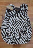 Pottery Barn Teen Super Soft Faux Fur Zebra White & Brown Stripe Backpack