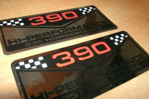 FORD 390 HIGH PERFORMANCE 335 HORSEPOWER VALVE COVER DECALS NEW PAIR MUSTANG FAI