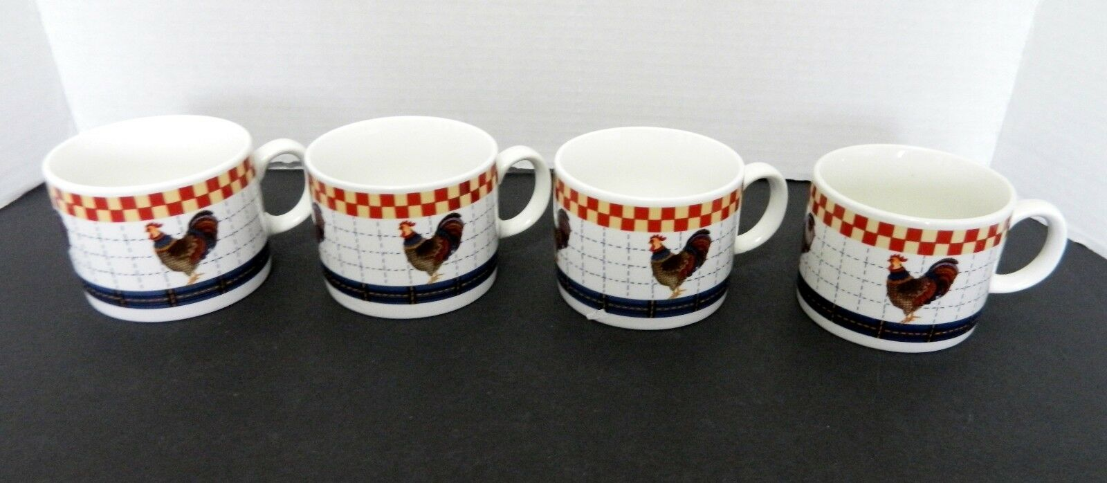 Majesticware By Oneida Calico Rooster Coffee Cups Mugs Country Folk Art Four For Sale Online