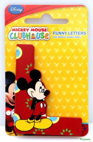 Lettera L DISNEY TOPOLINO Mickey in Legno cm 8x0,7 con adesivo Cameretta bambini