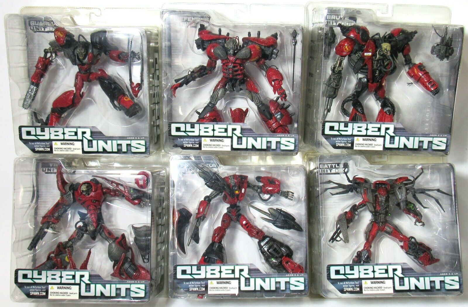 New Sealed Mcfarlane Cyber Unit 001 rot Variant 2005 Complete Set Of 6
