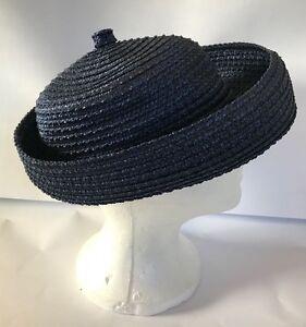 Vintage Women's BRETON HAT Navy Blue Woven Straw School Girl Small Medium 60s?