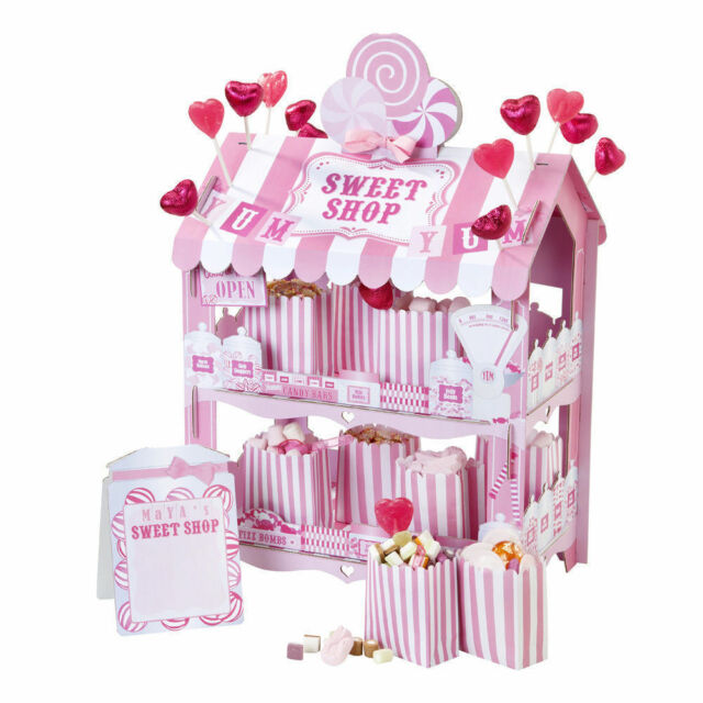 Pink White Sweet Shop Candy Stripes TREAT STAND sticker treat bags x 12 Party