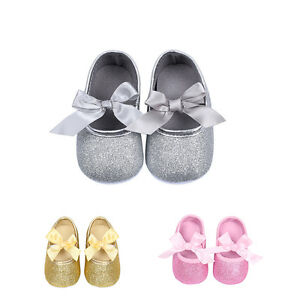 Infant Baby Girl Toddler Trainers Shiny Bow Dress Kids Soft Sole Prewalker Shoes