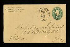 US Postal History Scott #U311 Trust US Express 1897 Doylestown PA Philadelphia