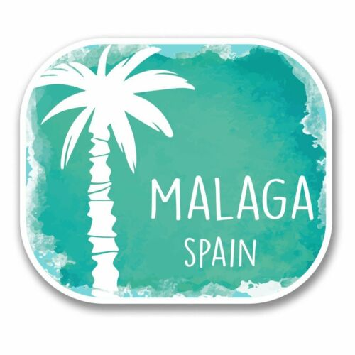 2 x Malaga Spain Vinyl Sticker Laptop Travel Luggage Car #6338
