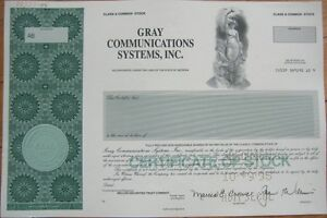 SPECIMEN-Stock-Certificate-Gray-Communications-Systems