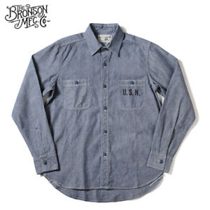 Details about Bronson WW2 USN Chambray Work Shirts Men's Vintage Selvage  Navy Fatigue Utility