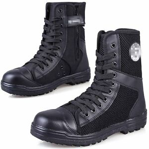 Mens Canvas Leather Breathable Military