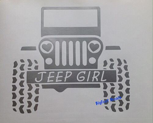 Jeep Girl Decal Heart Headlights Wrangler Sarah Rubicon Vinyl Window Sticker