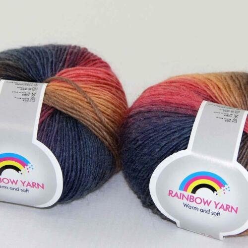 Hot 2Balls*50g Soft Cashmere Wool Rainbow Wrap Shawl DIY Hand Knitwear Yarn 08