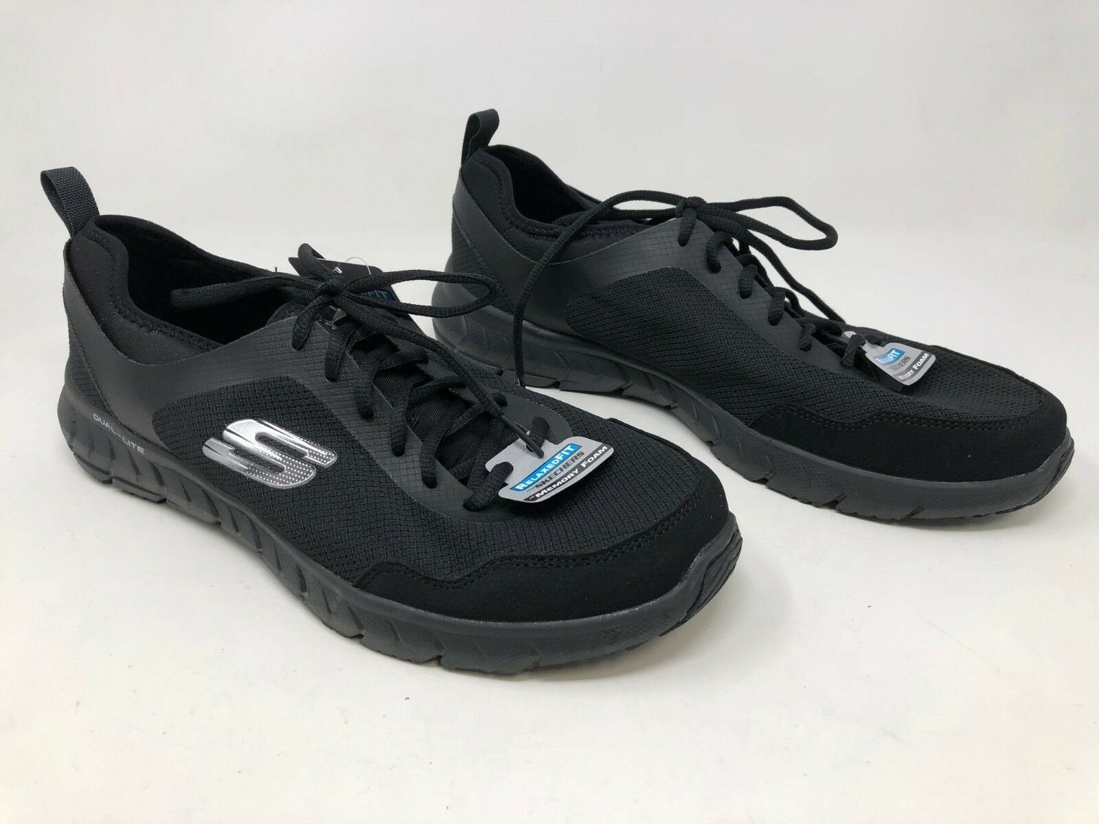New  Men's Skechers Lite-Weight Relaxed Fit Memory Foam 59915H Black Silver 41S