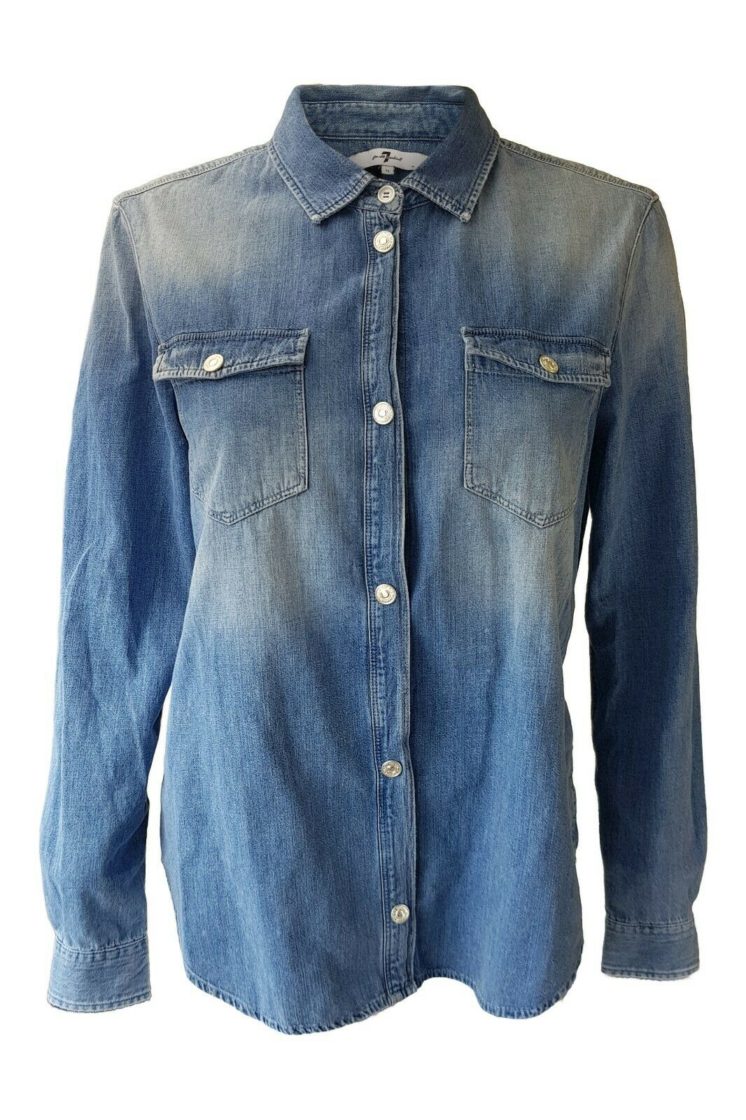 SEVEN FOR ALL MANKIND Denim Blau Button Front Shirt (M)