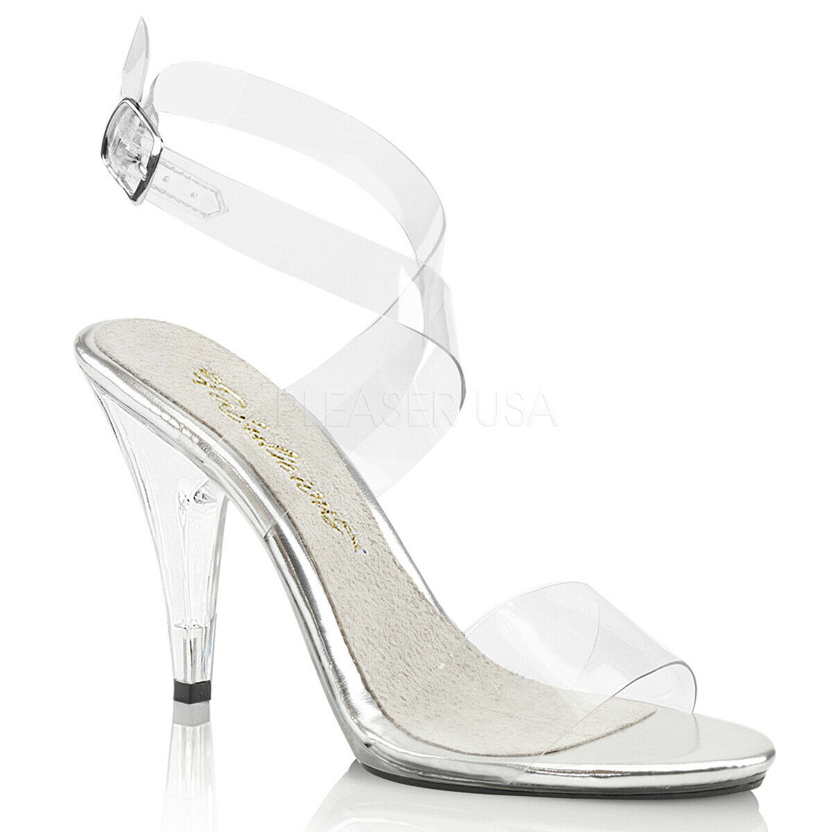 Fabulicious Fabulicious Fabulicious By Pleaser Caress-412 Clear Mini Platform Wrap Around Sandal shoes 74aeff