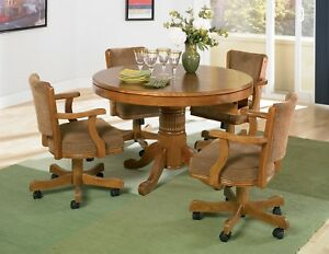 Image is loading NEW-3-in1-OAK-GAME-DINING-TABLE-w- & NEW 3 in1 OAK GAME DINING TABLE w/ 4 ARM CHAIRS SET CASTERS BUMPER ...