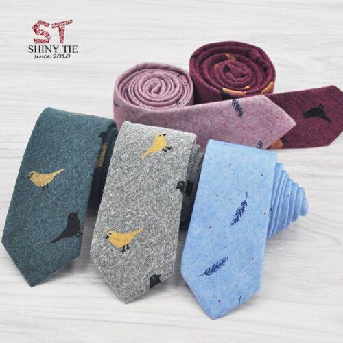 100/% Top Baumwolle Krawatten Für Männer Vögel Blätter Grafik weicher Stoff NEU