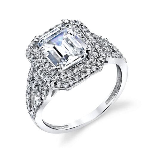 SOE003 Sterling Silver Bridal CZ Engagement Wedding Ring Emerald Cut