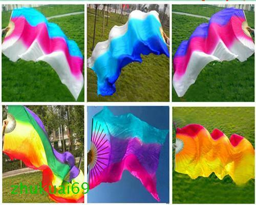 1.5m 1.8m Single right hand (or left) 100% silk belly dance fan veil 6 colors
