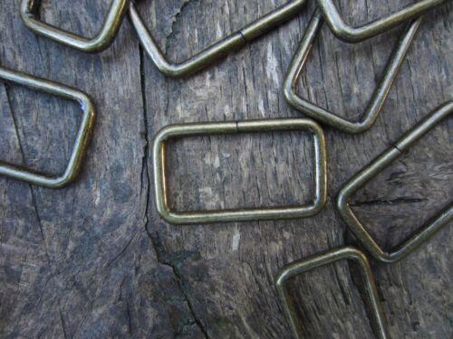 Métal finition laiton vieilli fil formé Rectangle Boucle Sangle Keeper 38mmx20mm